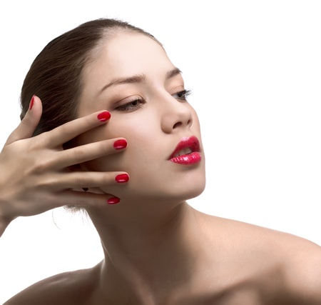 Close-up portrait of sexy caucasian young woman with red bright manicure Stock Photo - 8870885