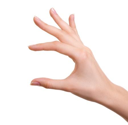 on fingers: Mano femenina aislado en blanco Foto de archivo