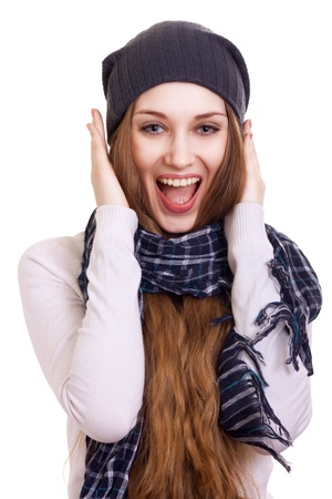 Happy Young Beautiful Woman.Surprised winter Girl over white Stock Photo - 9022480