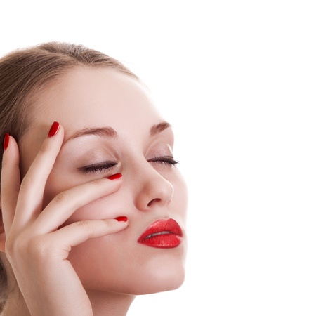 portrait beauty woman with red bright manicure on white background  photo
