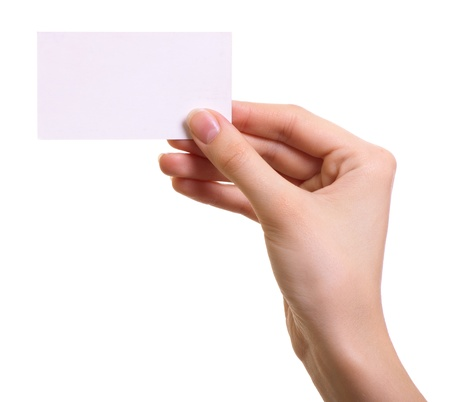 hand business card: Paper card in woman hand isolated on white background