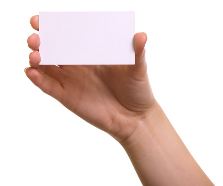 Paper card in woman hand isolated on white background Stock Photo - 9012130