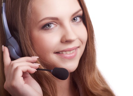 Beautiful young laughing cheerful woman with headphones with microphone  Stock Photo - 9323251