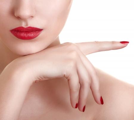 Fotos de primer plano de una hermosa labios rojos de mujeres Foto de archivo