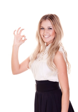 portrait of young businesswoman showing okay symbol over on white background Stock Photo - 9323112