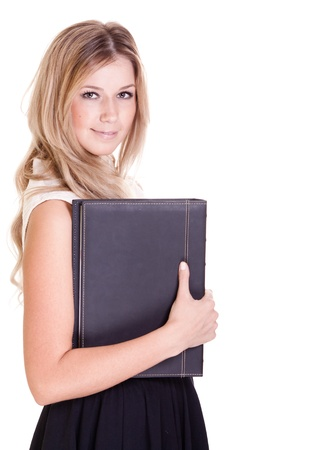 Blond businesswoman with black folder isolated on white Stock Photo - 9323239