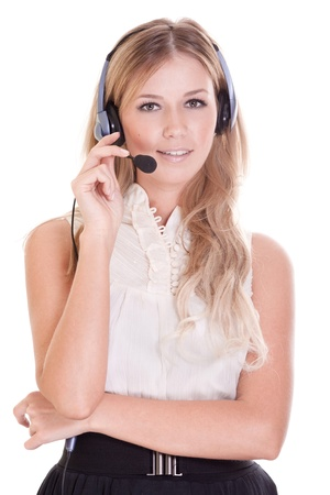Beautiful young laughing cheerful woman with headphones with microphone  Stock Photo - 9323360