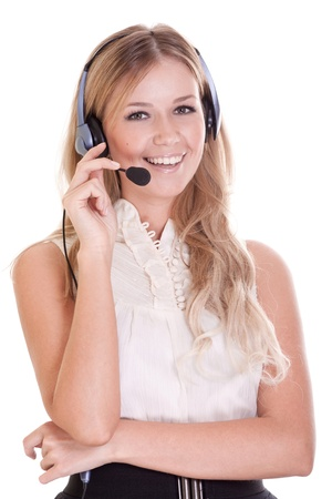 Beautiful young laughing cheerful woman with headphones with microphone Stock Photo - 9323386
