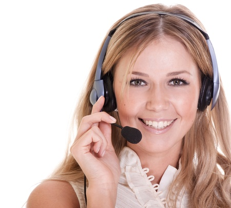 Beautiful young laughing cheerful woman with headphones with microphone Stock Photo - 9323258