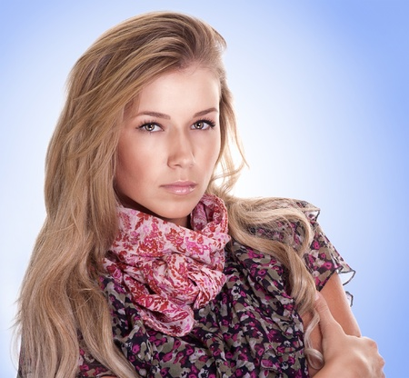 Portrait of young woman with beautiful blond hairs  photo