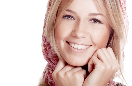 pretty happy woman with beautiful smile photo