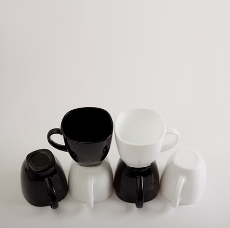 Many Coffee Mugs Design With Copyspace photo