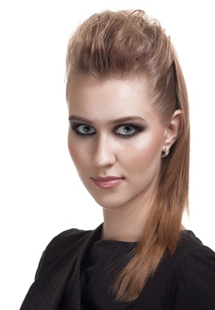 portrait of a beautiful young woman with bright makeup  photo