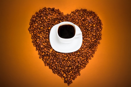 Coffee and Heart from beans photo