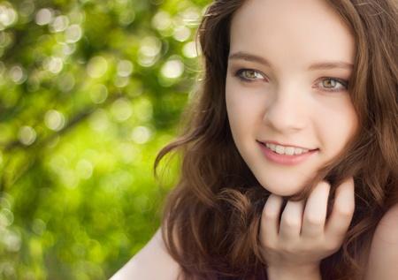beautiful teen girl portrait outdoor  photo
