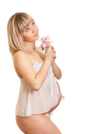 Young mother in white lingerie with flower isolated photo