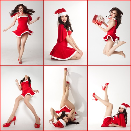 collage - happy smiling woman in red xmas sexy costume photo