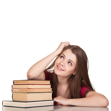 Teen girl with lot of books, isolated on white Stock Photo - 9613344
