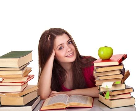 školačka: Teen girl with lot of books, isolated on white