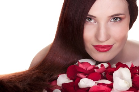 Beautiful woman and roses petals on white background Stock Photo - 9809531