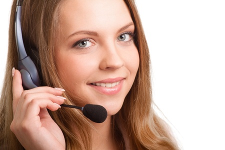 Beautiful young laughing cheerful woman and  headphones with microphone Stock Photo - 9809721