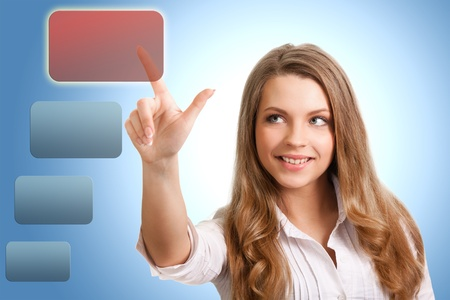 happy successful woman makes the choice of modern technology Stock Photo - 9809719