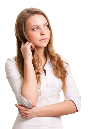 Portrait of a thinking woman looking on copyspace  photo