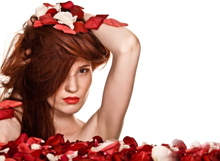 Beautiful woman and rose petals on white background  Stock Photo - 10172104