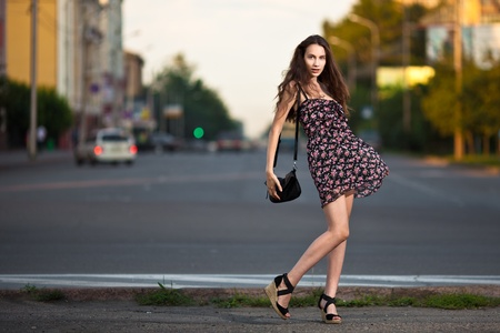 skinny woman: young beautiful woman in the city