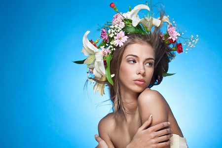 fairy woman: Beautiful woman with flower wreath. Space for text.