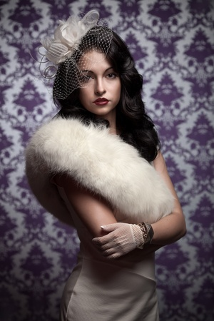 mink: Bella Woman.Retro in stile morbido ritratto
