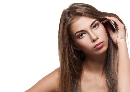 maquillage: Beautiful woman with clean healthy skin isolated  Stock Photo