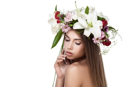 red lip: Beautiful woman with flower wreath. Space for text.