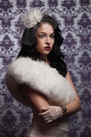 mink: Bella Woman.Retro Portrait Styled soft Archivio Fotografico