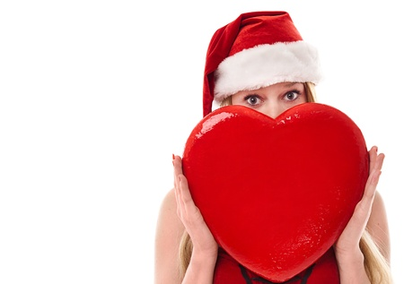 Beautiful Young Christmas Woman With Red Heart Isolated Stock Photo - 11590665