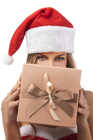 Happy Christmas woman holding gift wearing Santa costume  Stock Photo - 11590867
