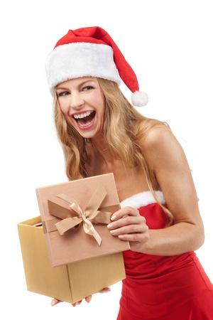 Happy Christmas woman holding gifts wearing Santa costume Stock Photo - 11590873