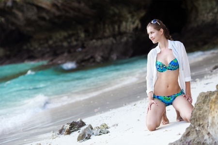 Beautiful woman on the beach. Phi phi island. Thailand  photo