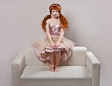 Fashion shot of woman in doll style.  photo