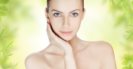 soft skin: Beautiful young woman with clean skin Stock Photo