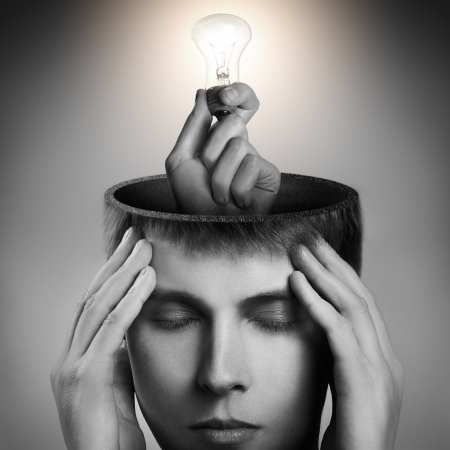 visualize: Conceptual image of a open minded man