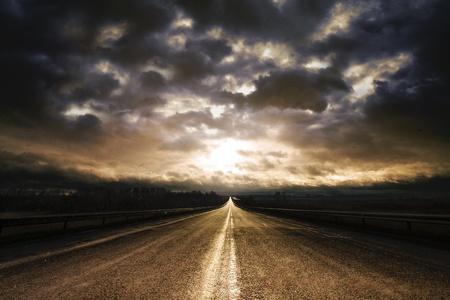 bad weather: Along Highway Sunrise  Stock Photo