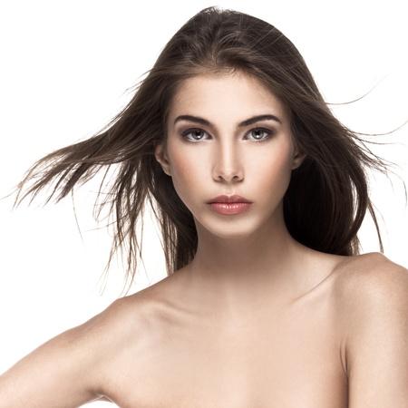 Portrait of a beautiful female model on white background Stock Photo - 12638674