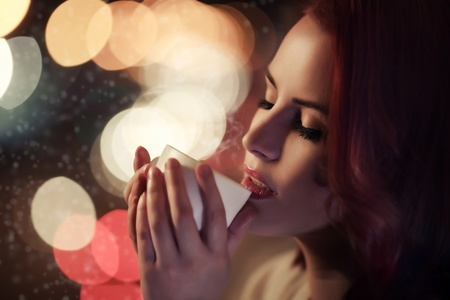steam mouth: Beautiful Romantic Girl With Cup of Coffee  Stock Photo
