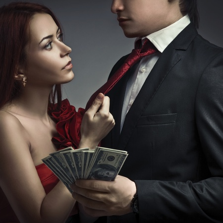 sexy lovers: Young stylish couples and money