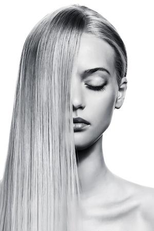 Beautiful Blonde Girl. Healthy Long Hair. BW Image Stock Photo - 12639296