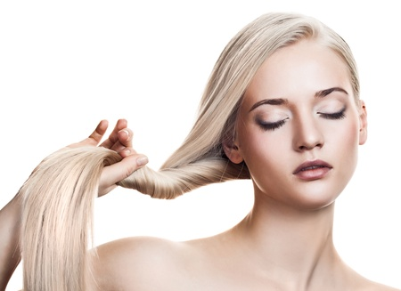 Beautiful Blonde Girl. Healthy Long Hair. Space For Text Stock Photo - 12639300