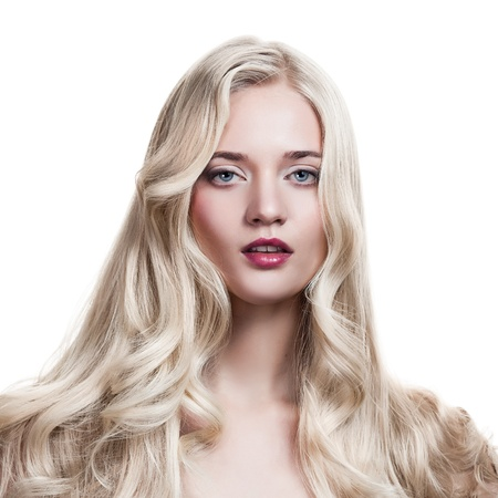 Beautiful Blonde Girl. Healthy Long Curly Hair.  Stock Photo - 12638813
