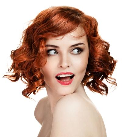 Beautiful smiling woman portrait on white background  photo