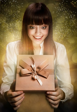 baby open present: Happy Kid with Gift  Stock Photo